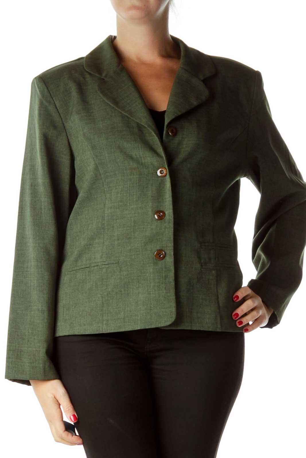 Green Textured Suit Jacket Front