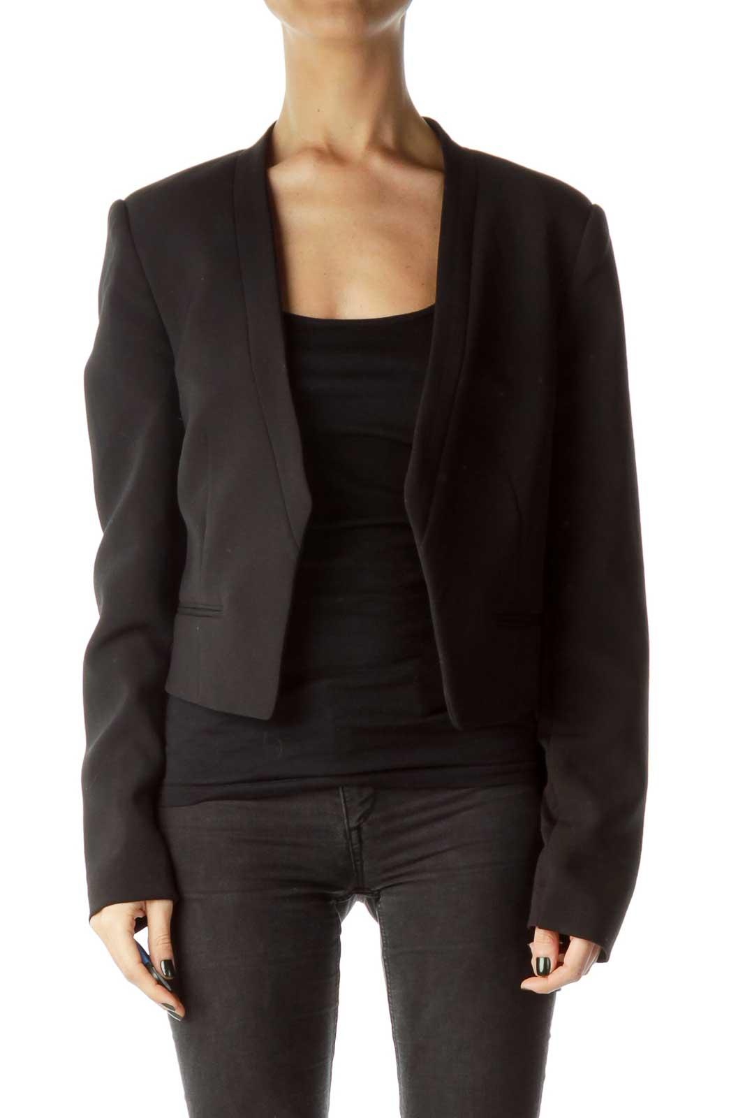 Black Cropped Blazer Front