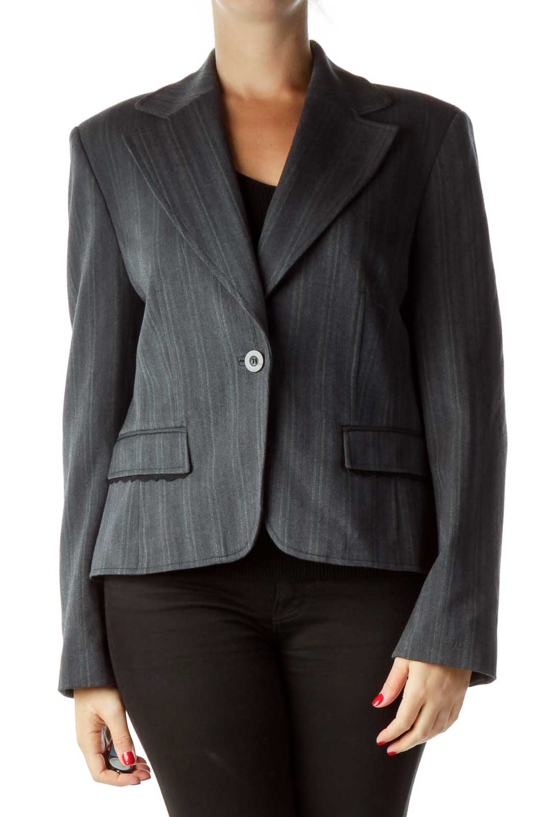 Gray Textured Suit Jacket Front