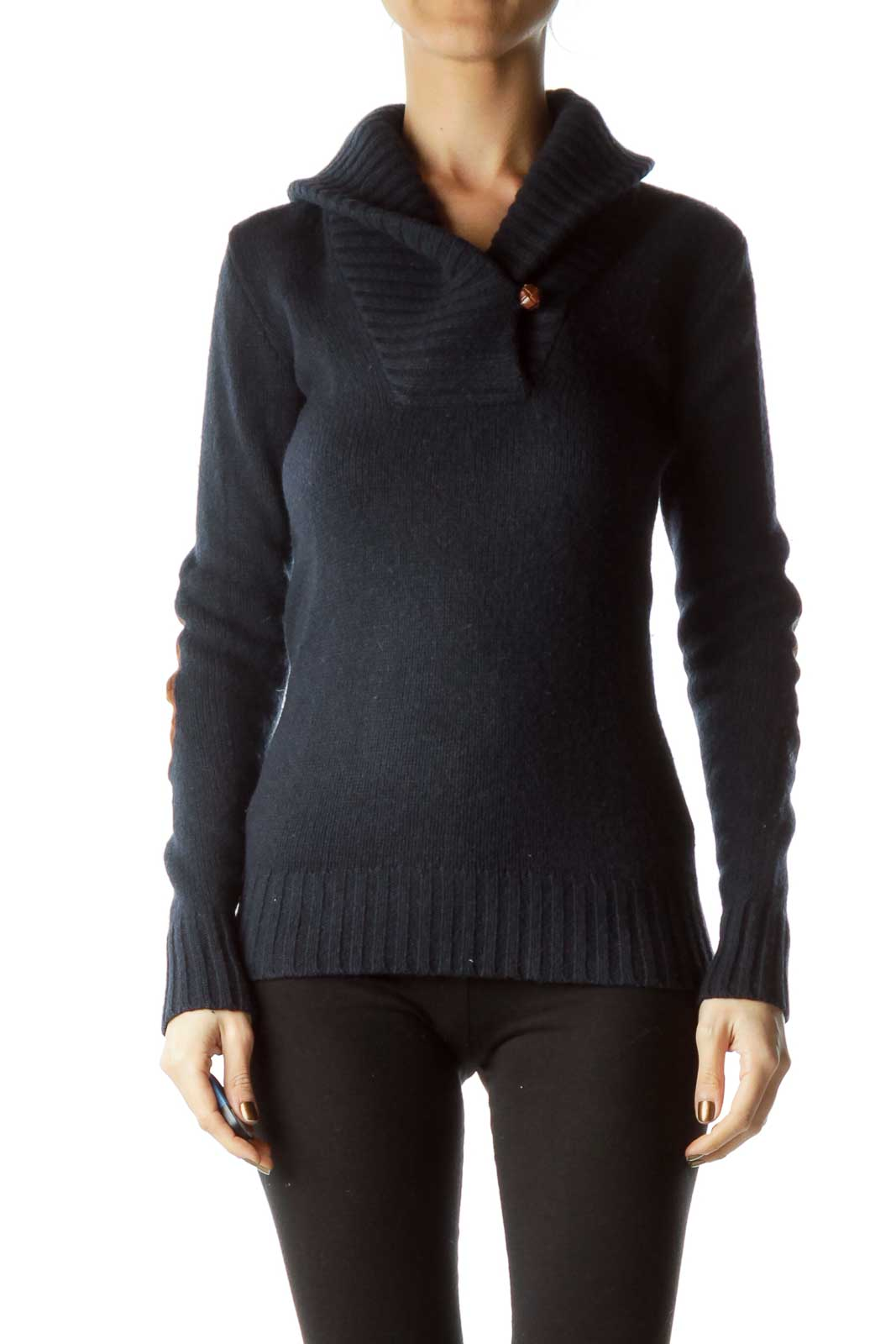 Navy Brown Elbow-Padded Sweater Front