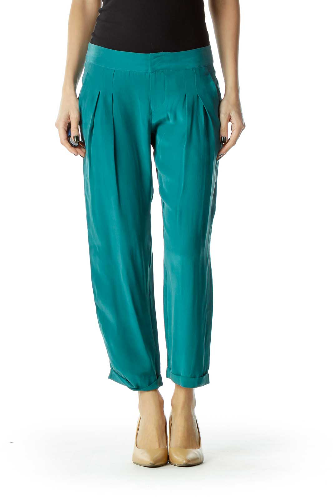 Green Loose Faux-Silk Pants Front