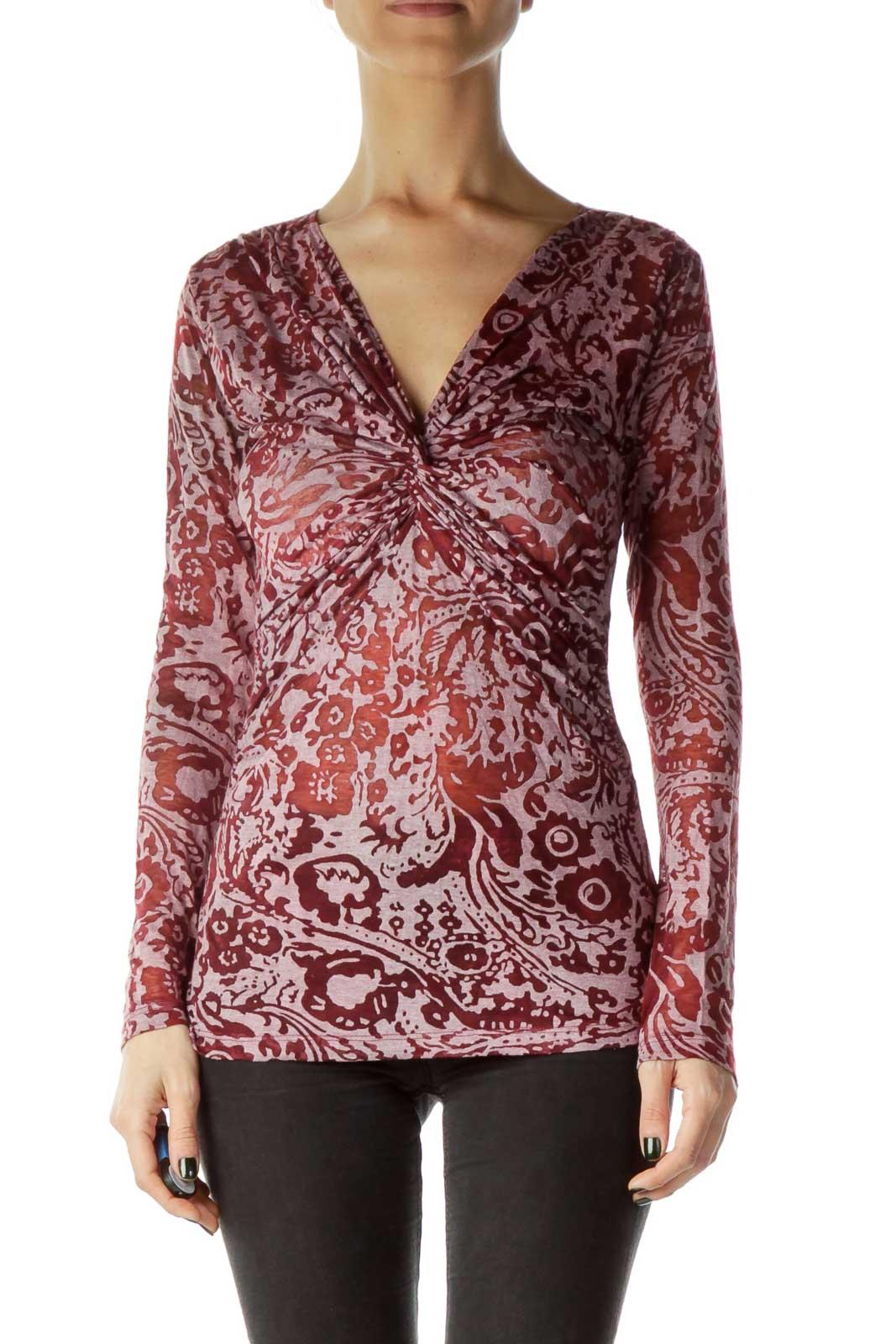 Red Sheer Printed Long Sleeve top Front