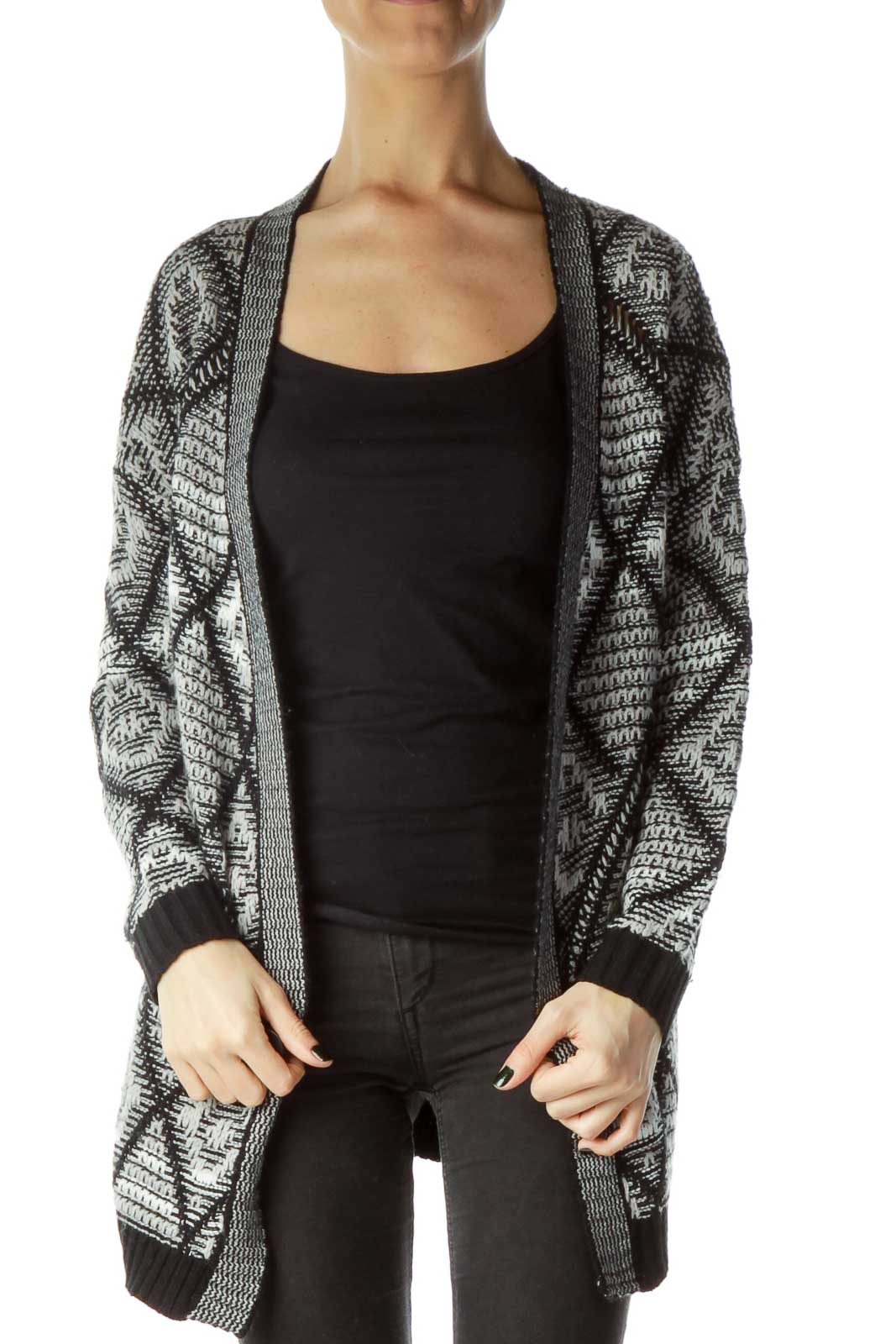 Black Gray Knit Cardigan Front