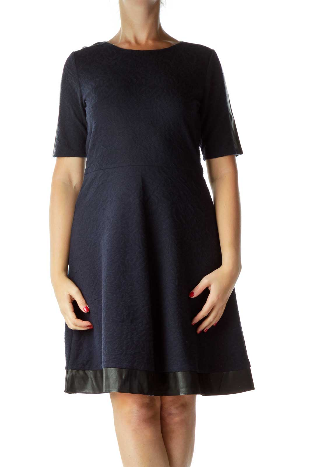 Navy Textured A-Line Dress with Faux-Leather Trim Front