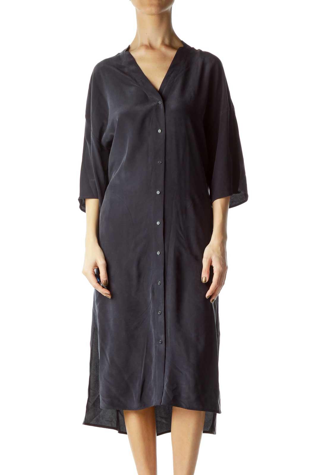 Navy Silk Pocketed Shirt Dress Front