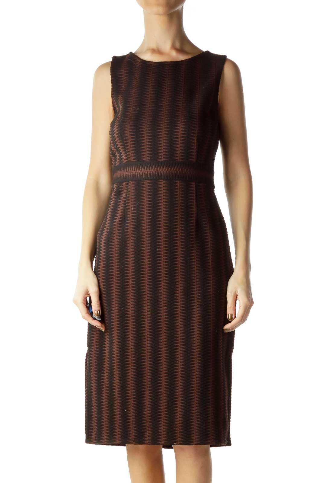 Black Brown Zig-zagged A-Line Work Dress Front