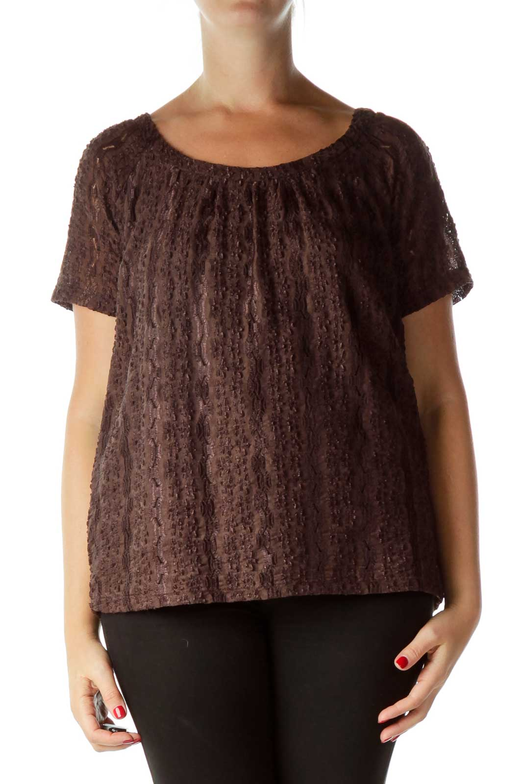 Brown Textured Short Sleeve Top Front