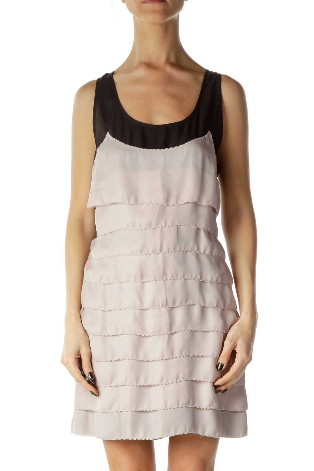 Pink Pleated Ruffled Racerback Day Dress Front