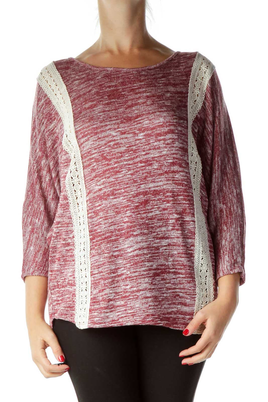 Pink Mottled Lace Detail Knit Top Front