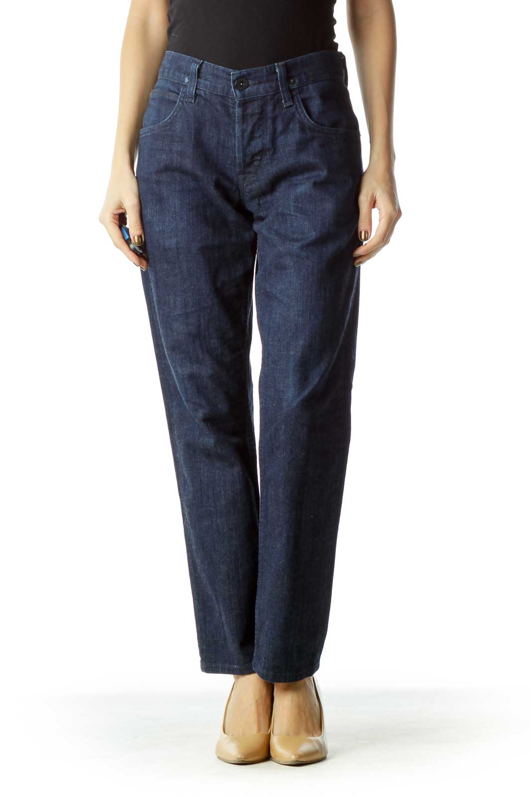 Navy Button-Fly Straight-Leg Jeans Front