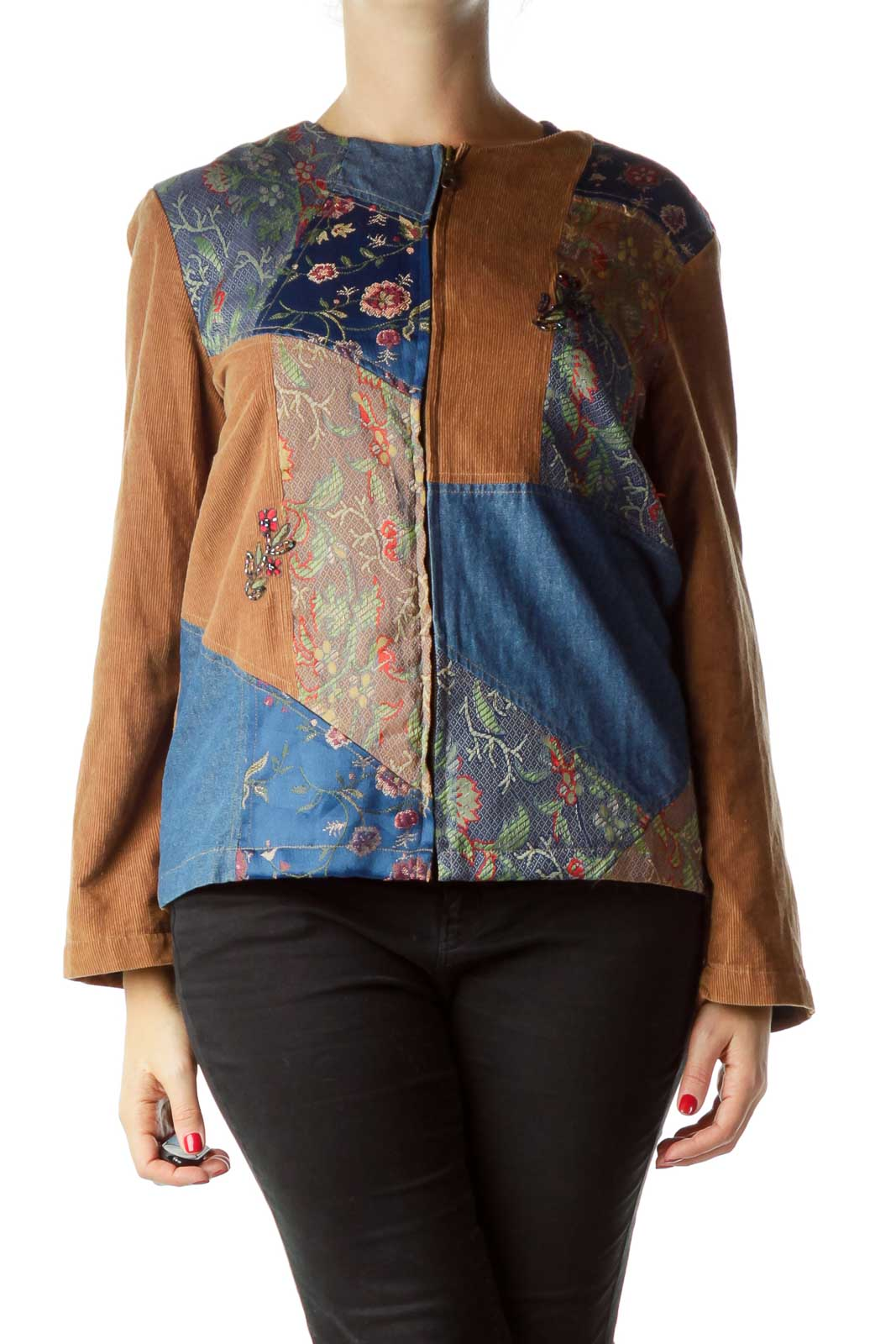 Brown Blue Denim & Corduroy Jacket Front