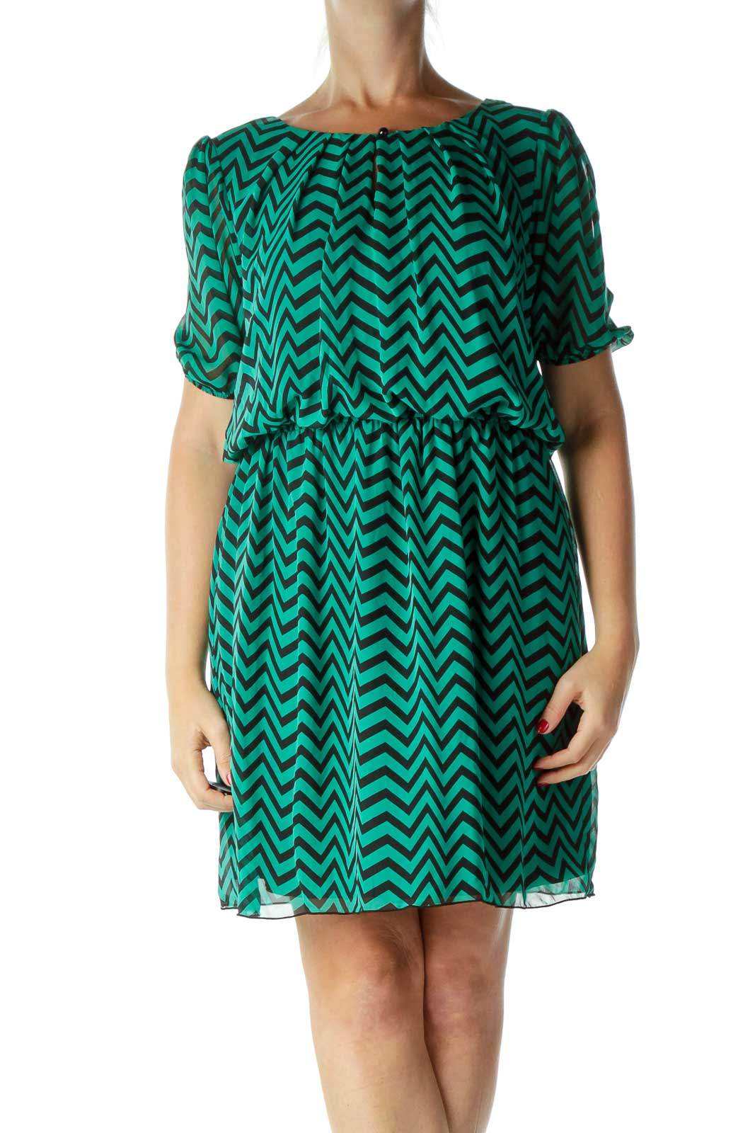 Green Black Chevron Work Dress Front