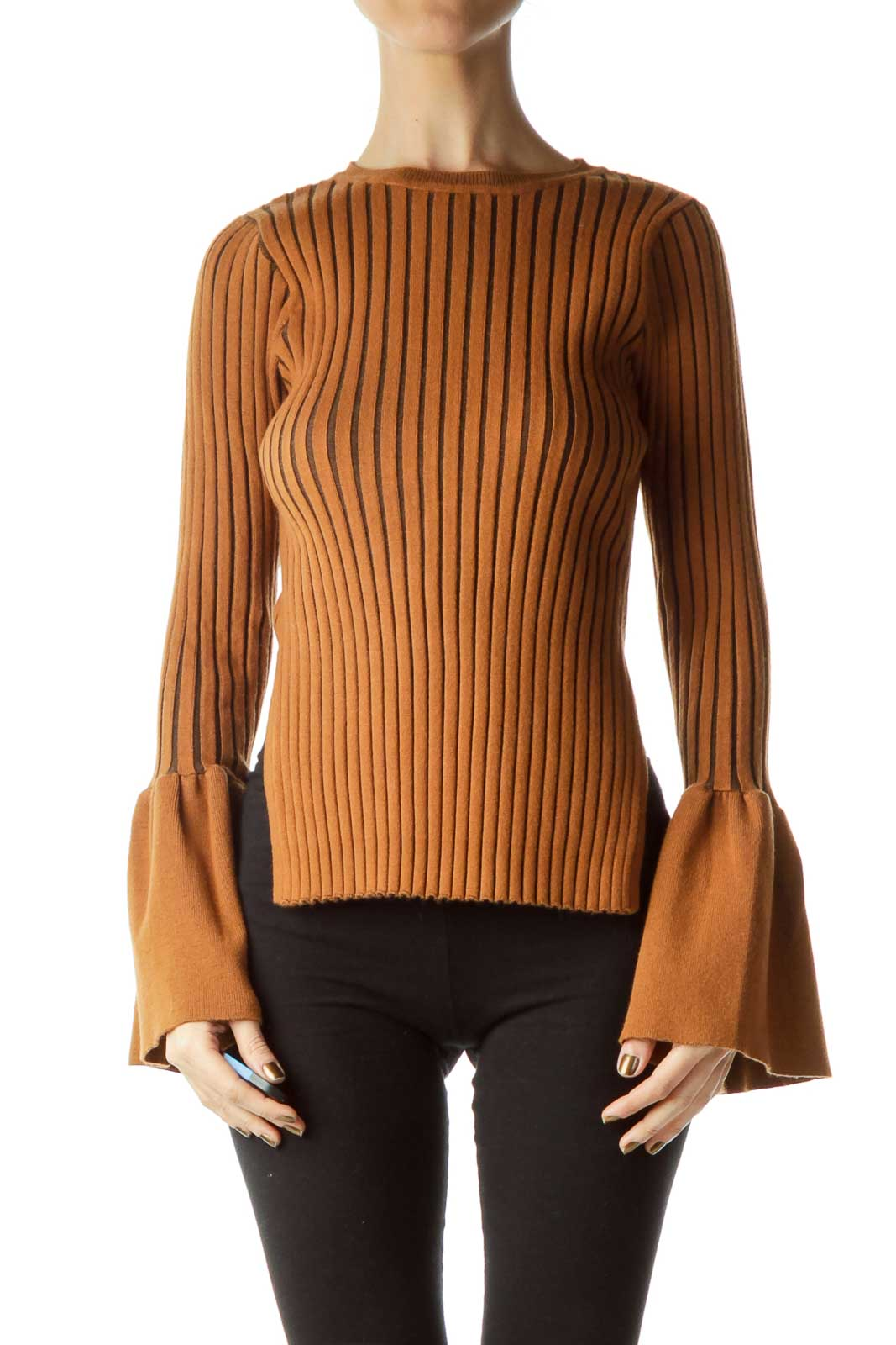 Brown Ribbed Bell-Sleeve Sweater Front