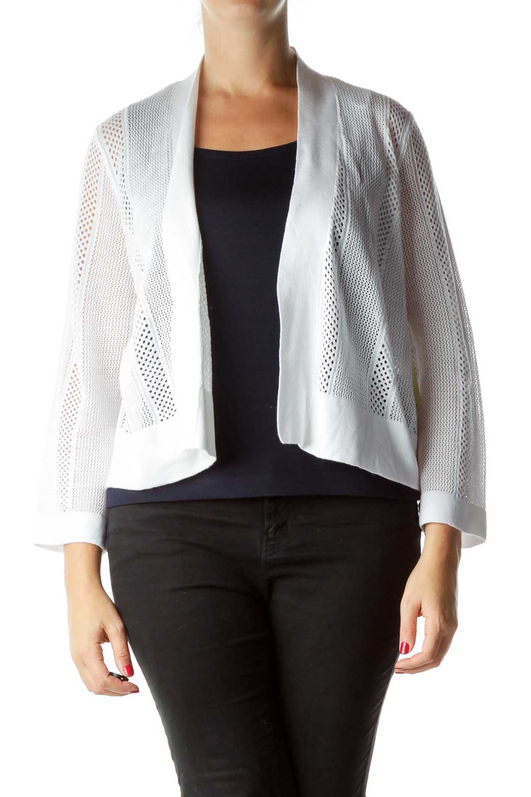 White Open Cable Knit Cardigan Front