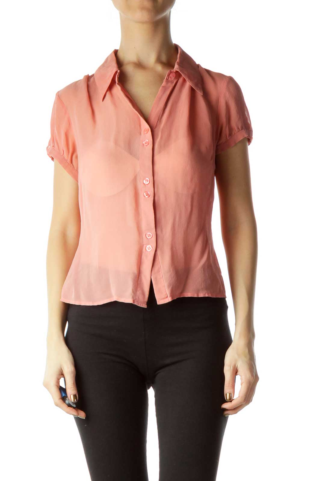 Pink Silk Buttoned Short Sleeve Blouse Front