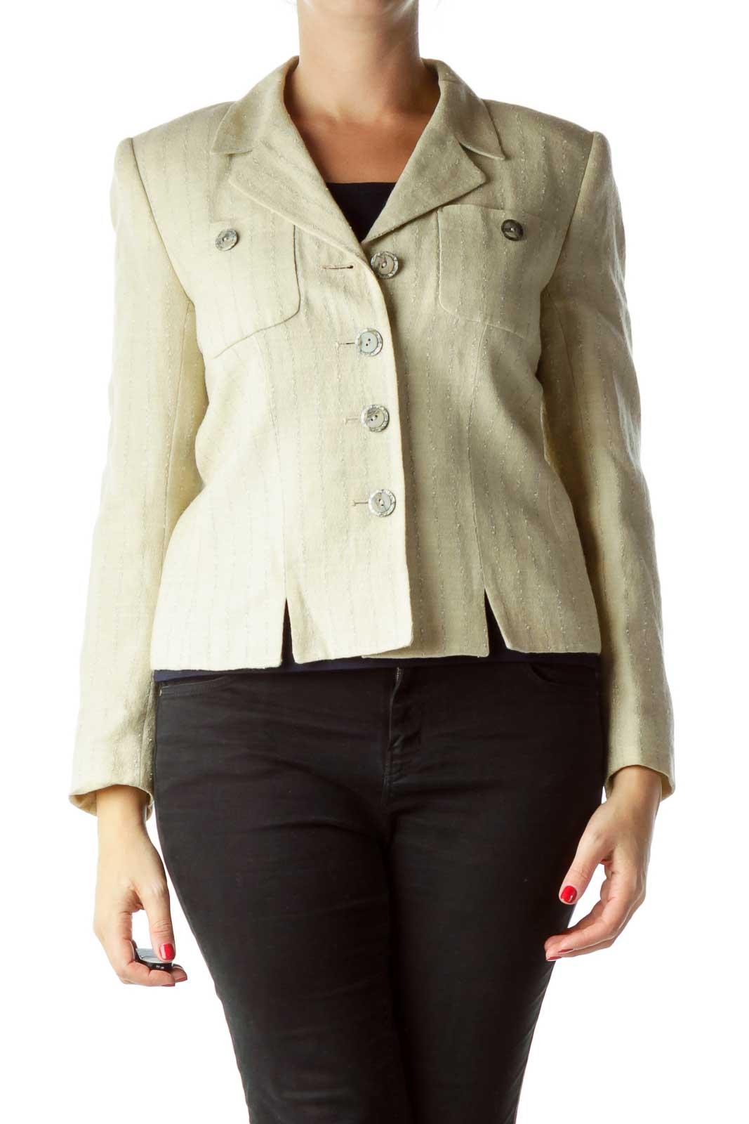 Beige Pinstripe Buttoned Blazer Front
