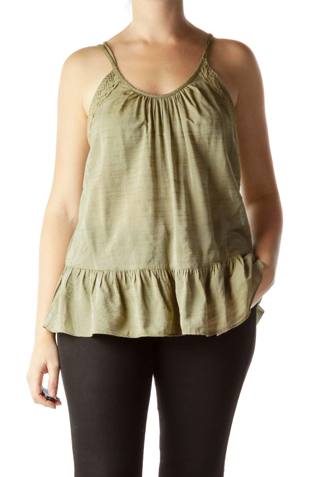 Green Spaghetti-Strap Flared Knit Top Front