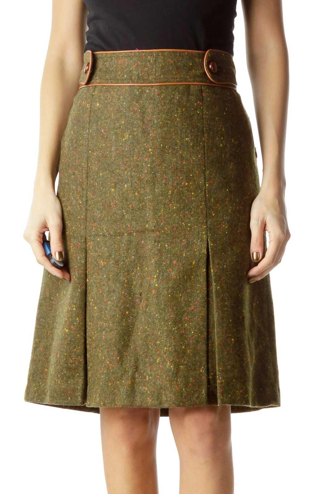 Green Brown Tweed Pleat Skirt Front