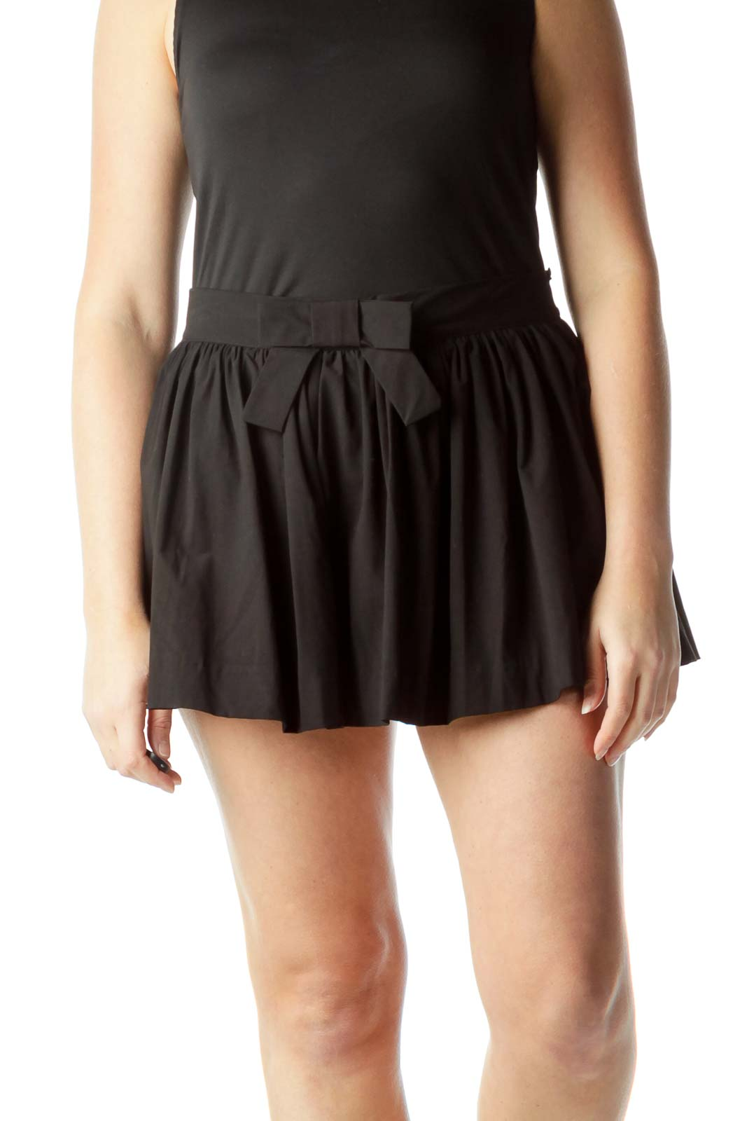 Black Flared Skirt with Front Bow Detail Front