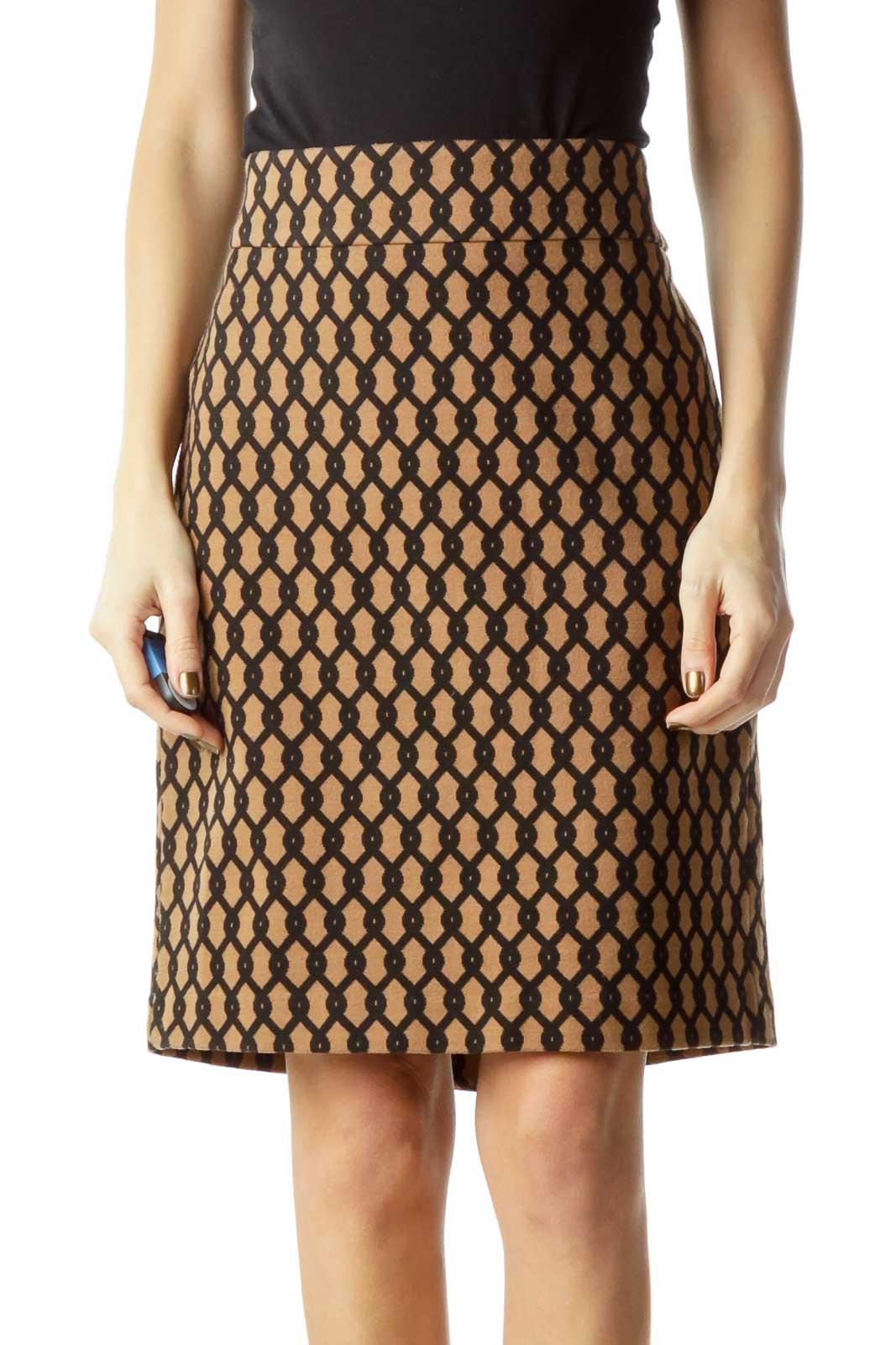 Brown Black Printed Mini Skirt Front