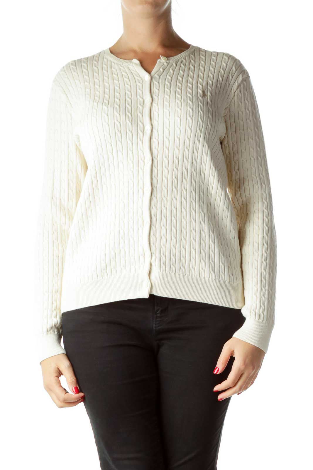 Beige Cable Knit Buttoned Cardigan Front