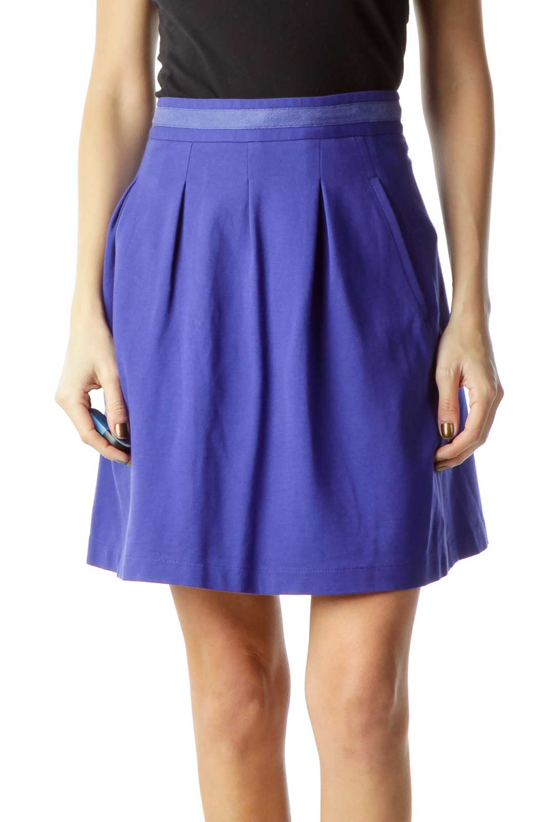 Blue Pocketed Pleated Mini Skirt Front