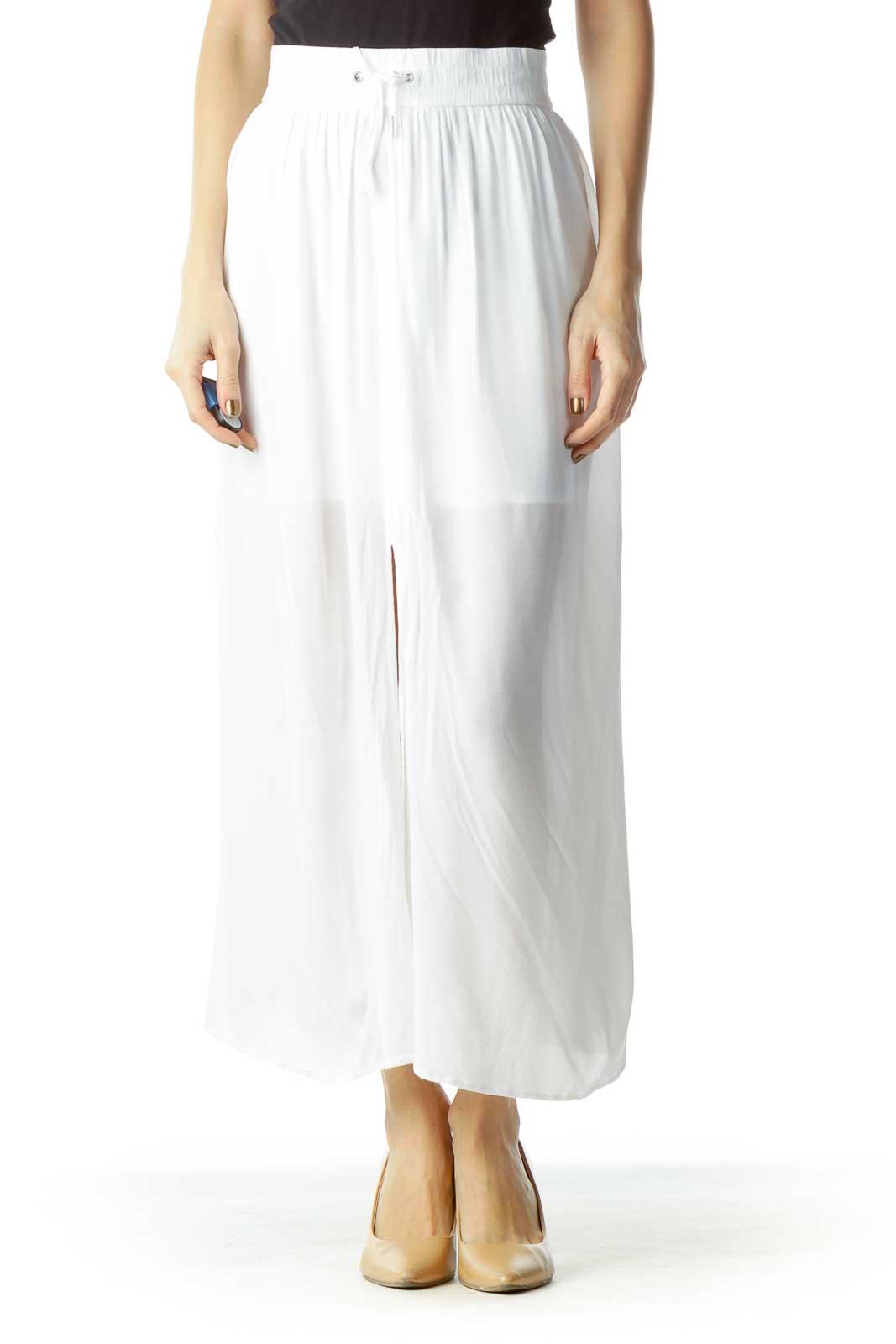White Sheer Midi Skirt Front