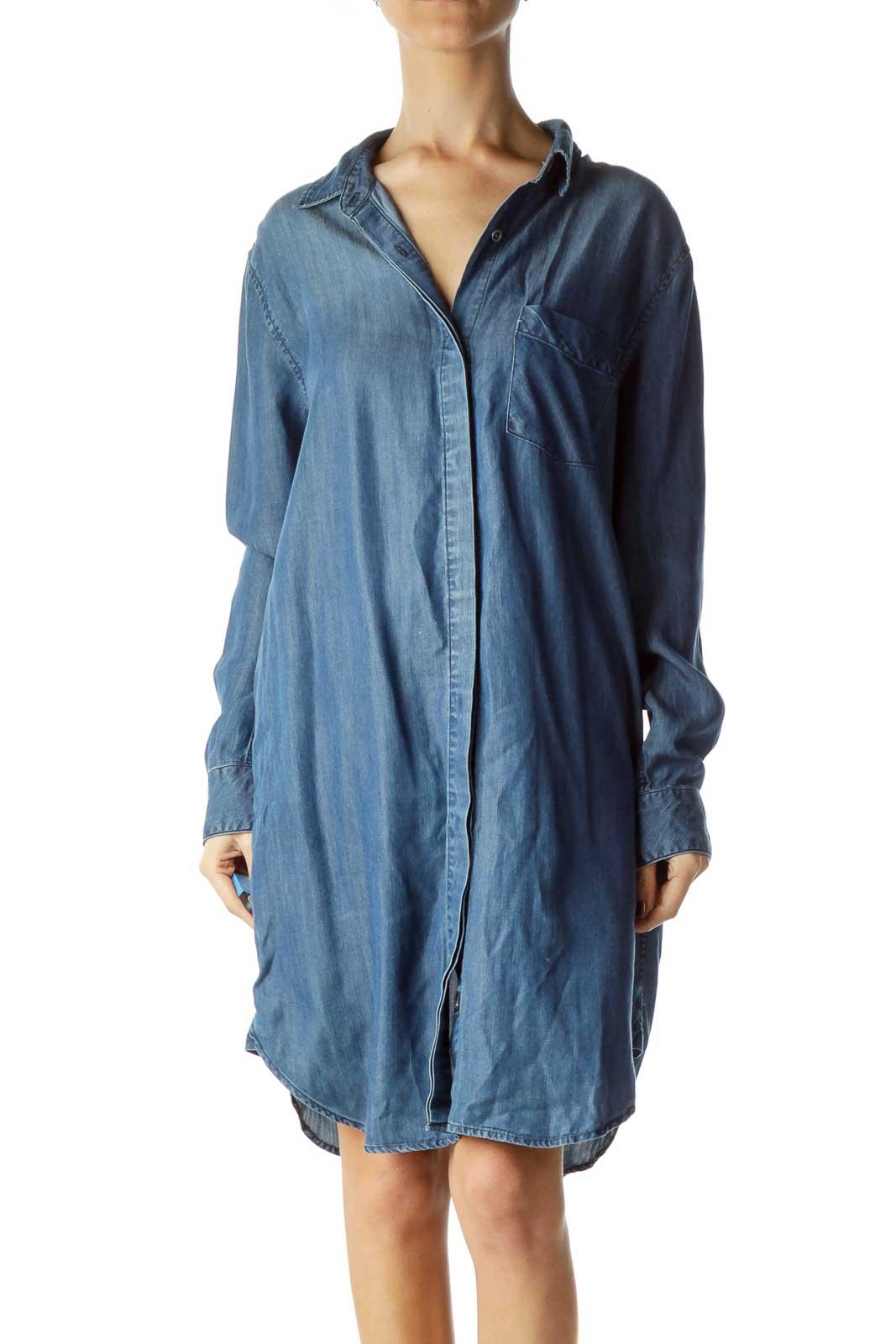 Blue Shirt Dress Front