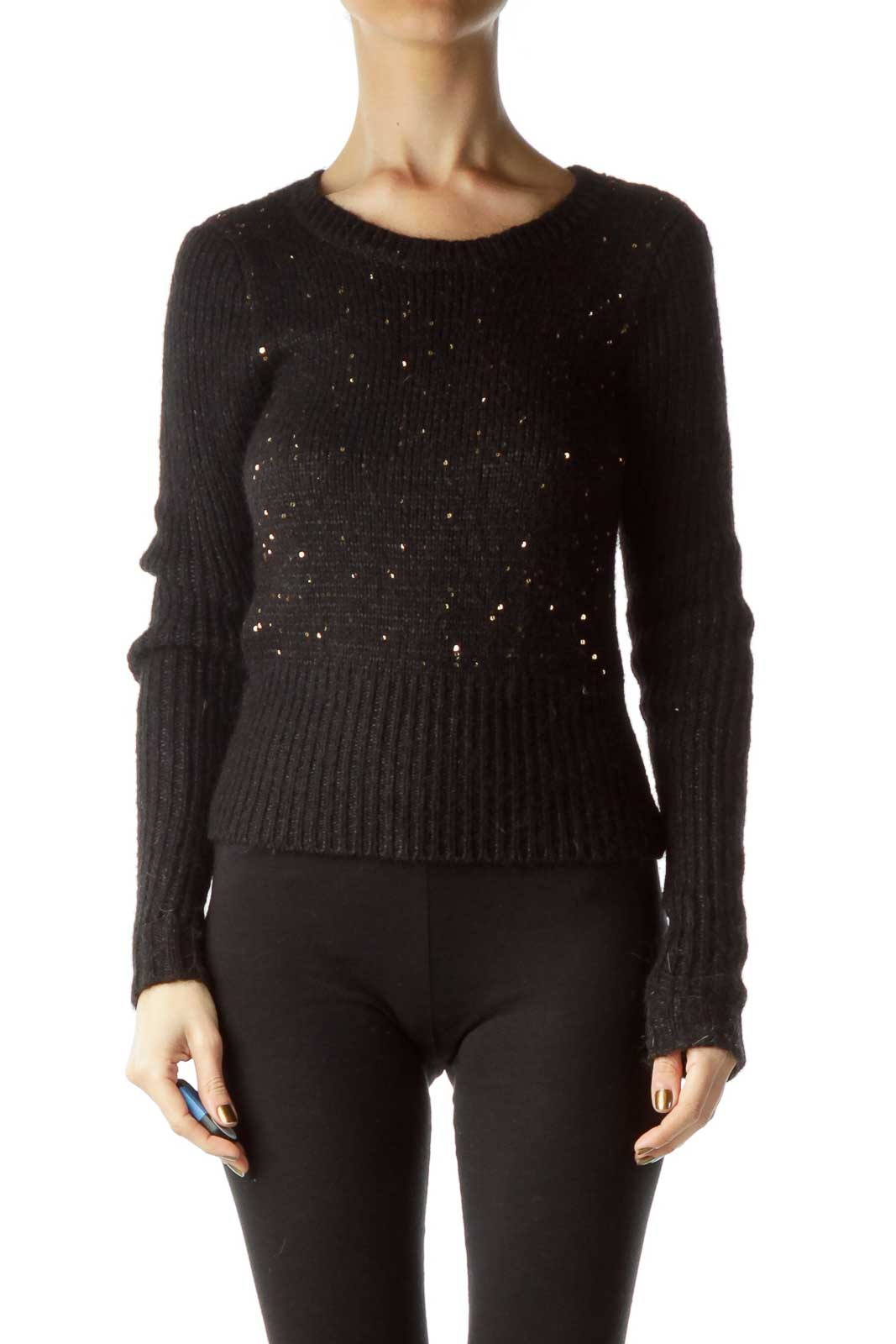 Black Gold Cozy Sequined Sweater  Front