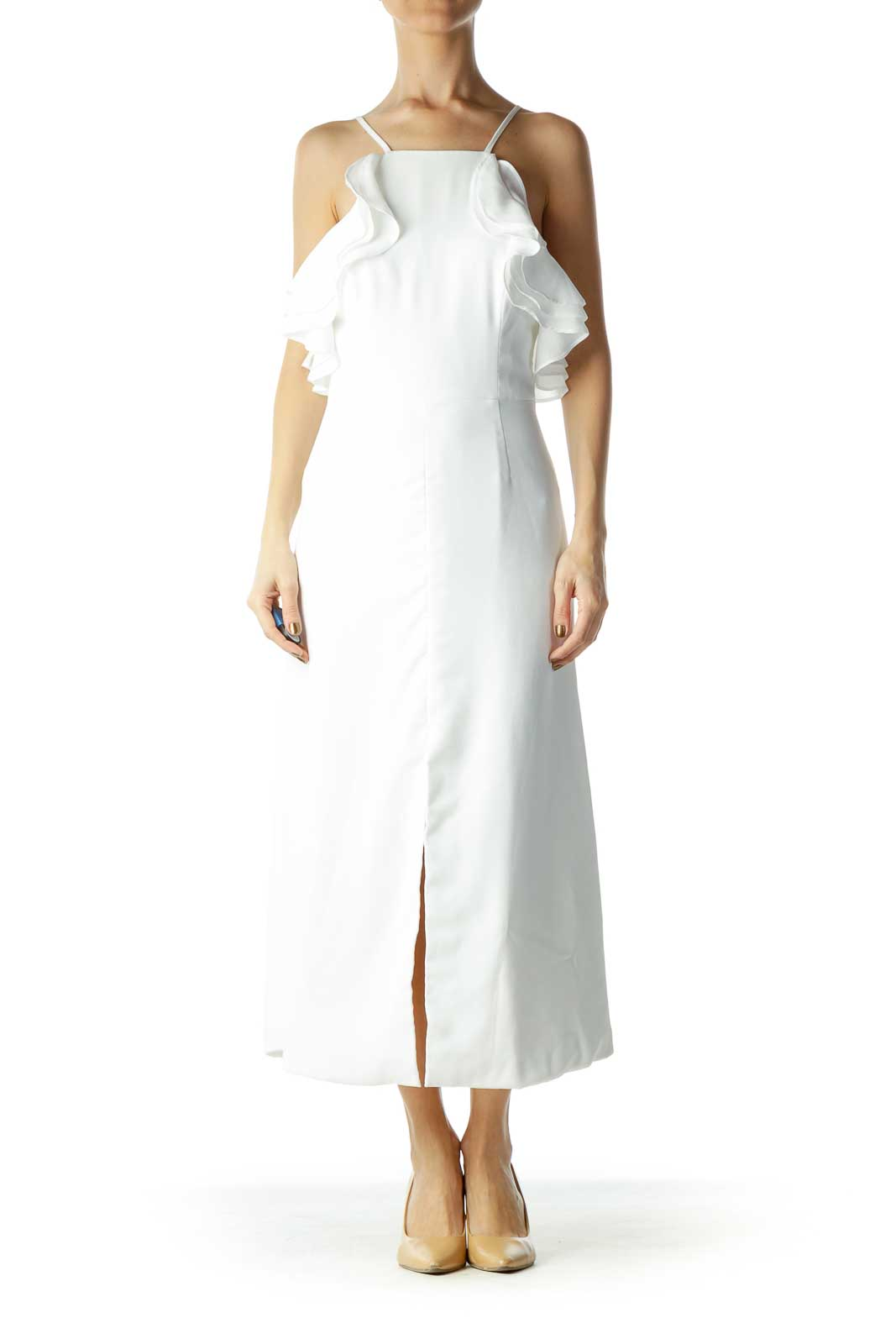 White Spaghetti Strap Ruffle Dress with Slit Front