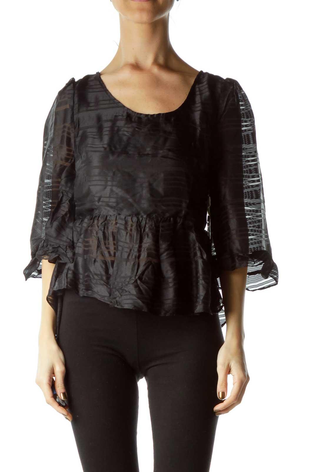 Black Sheer High-Low Silk Top Front
