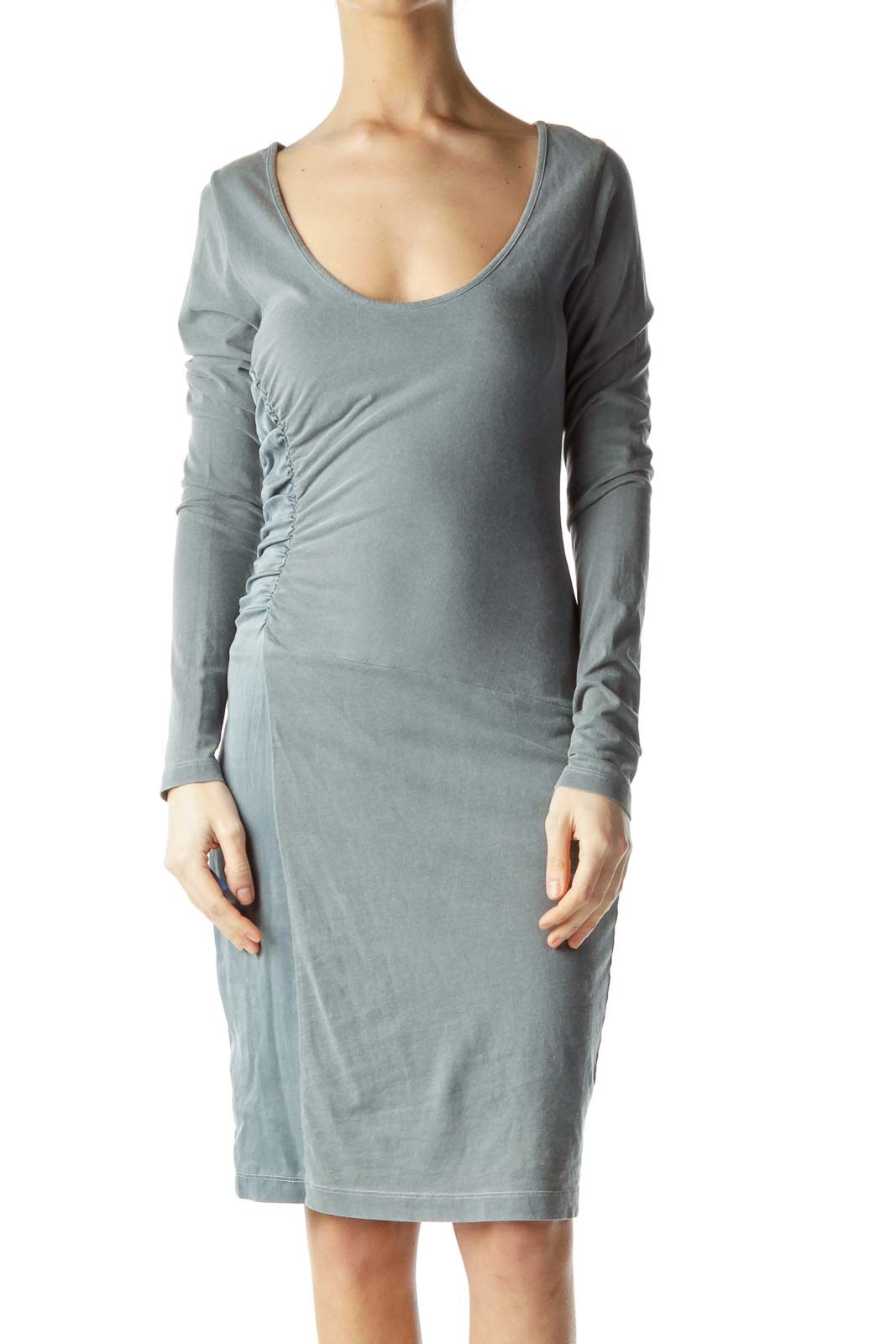 Gray Jersey Bodycon Dress Front