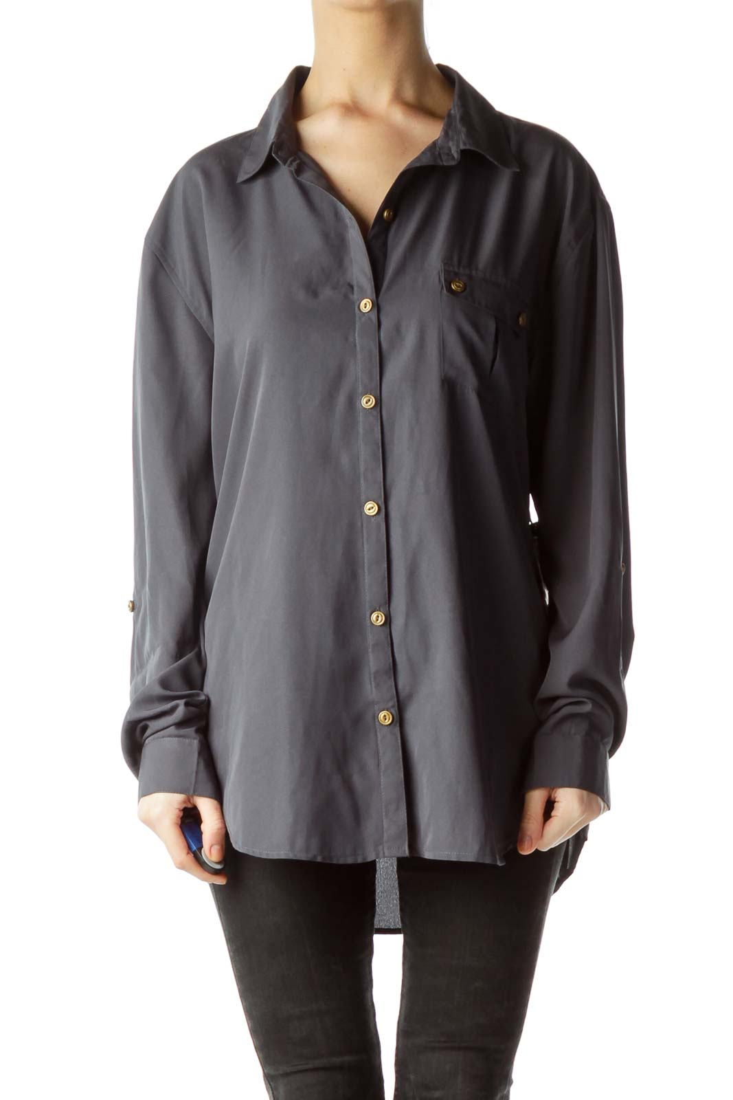 Gray Long-Sleeve Pocketed Shirt Front