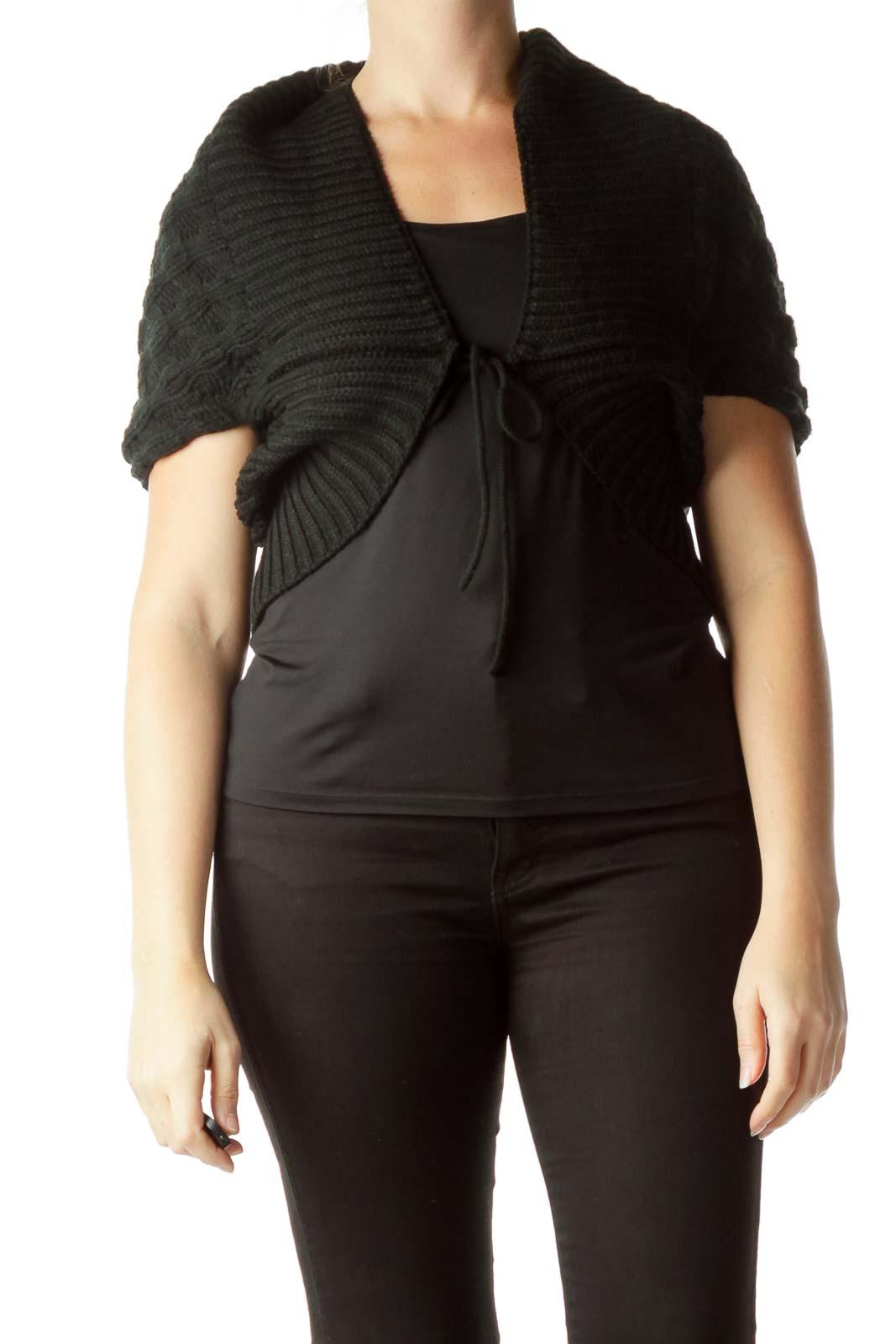Black Bat-Sleeve Poncho Sweater Front