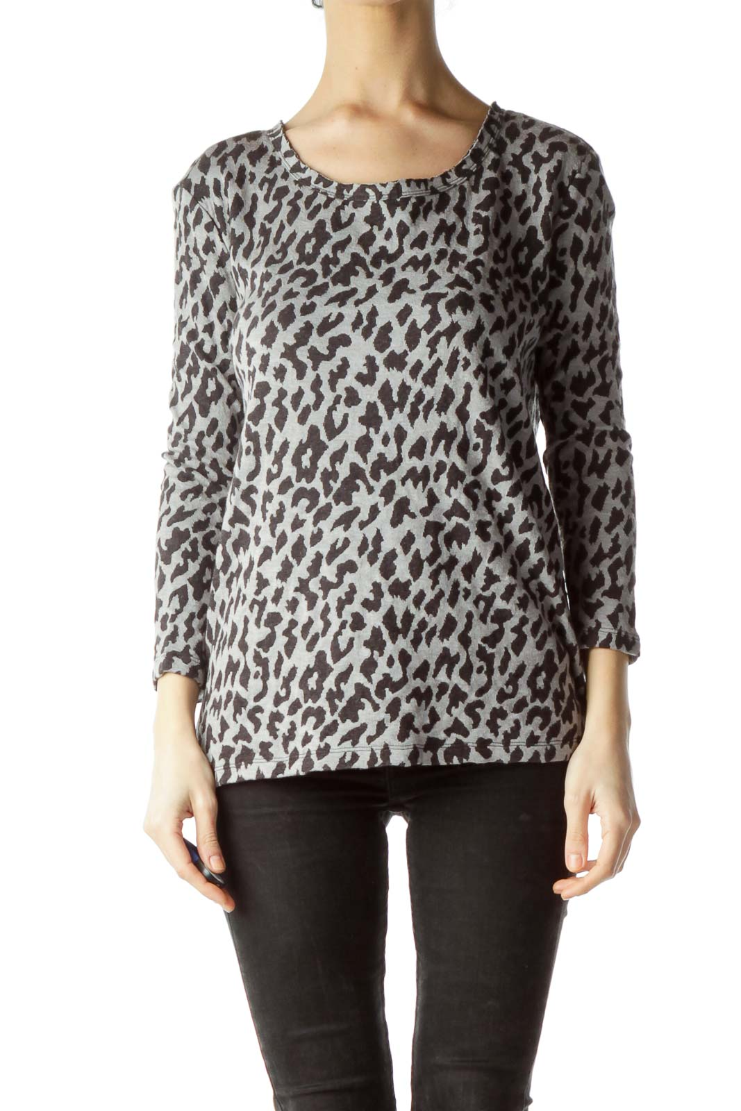 Gray Animal Print Knit Top Front