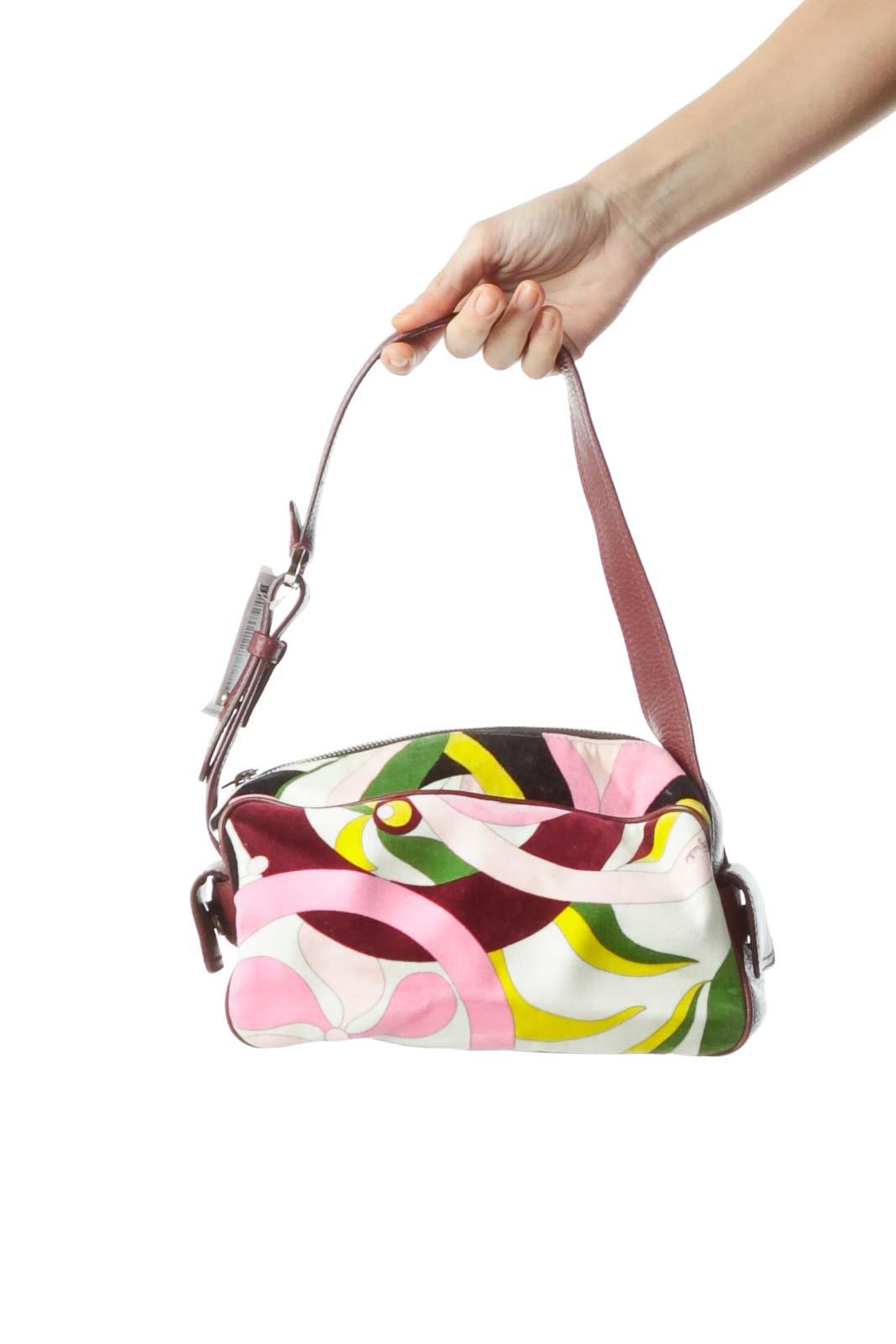 Burgundy Velvet Print Shoulder Bag Front