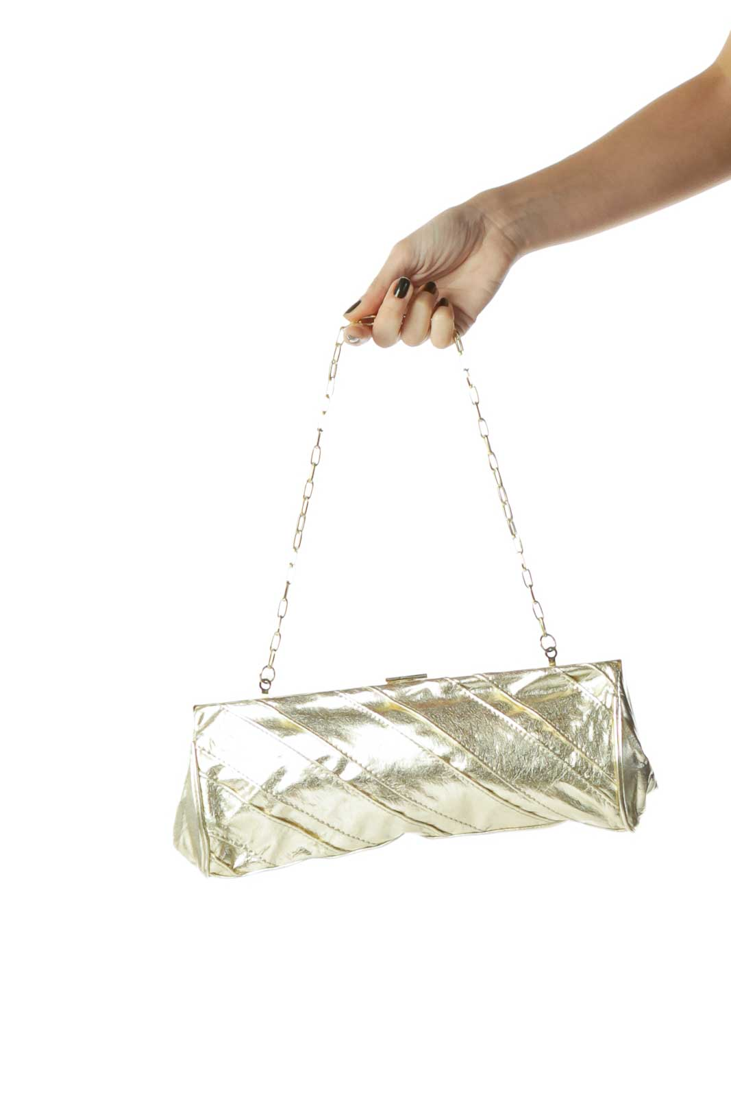 Gold Textured Clutch with Chain Front