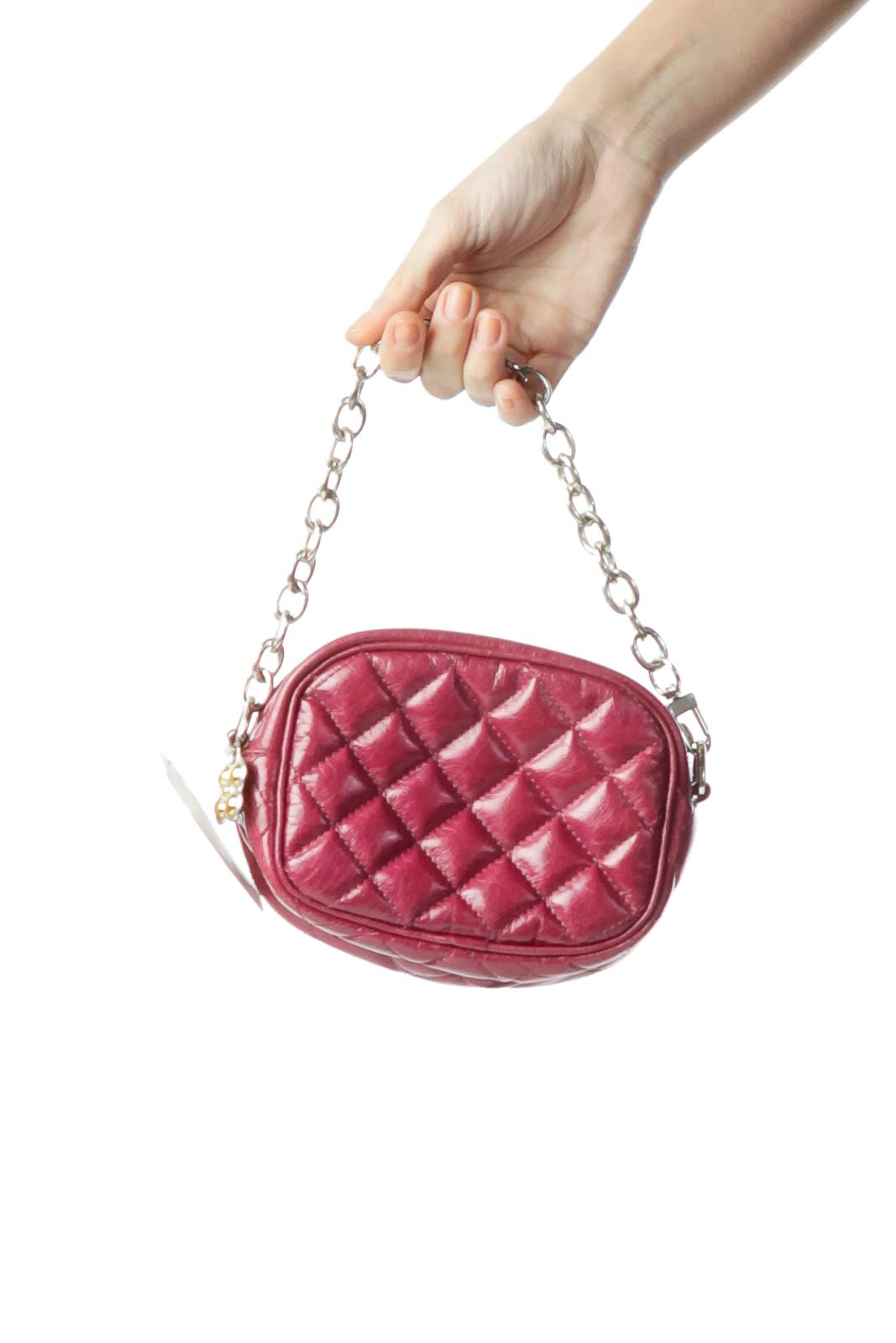 Burgundy Quilted Leather Clutch Front