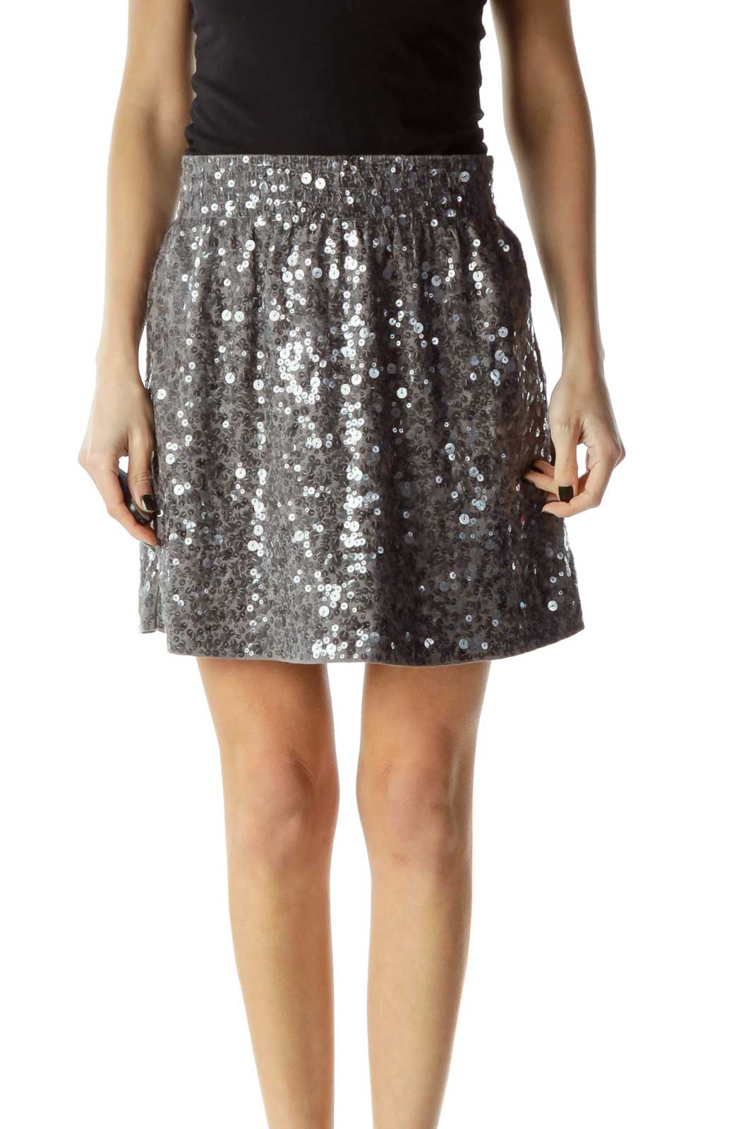 Gray Sequined Mini Skirt Front