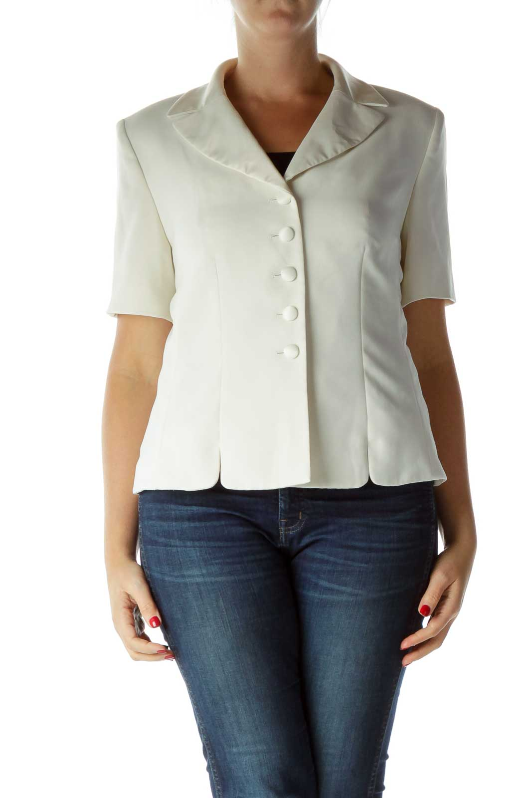 Cream Short Sleeve Suit Jacket Front