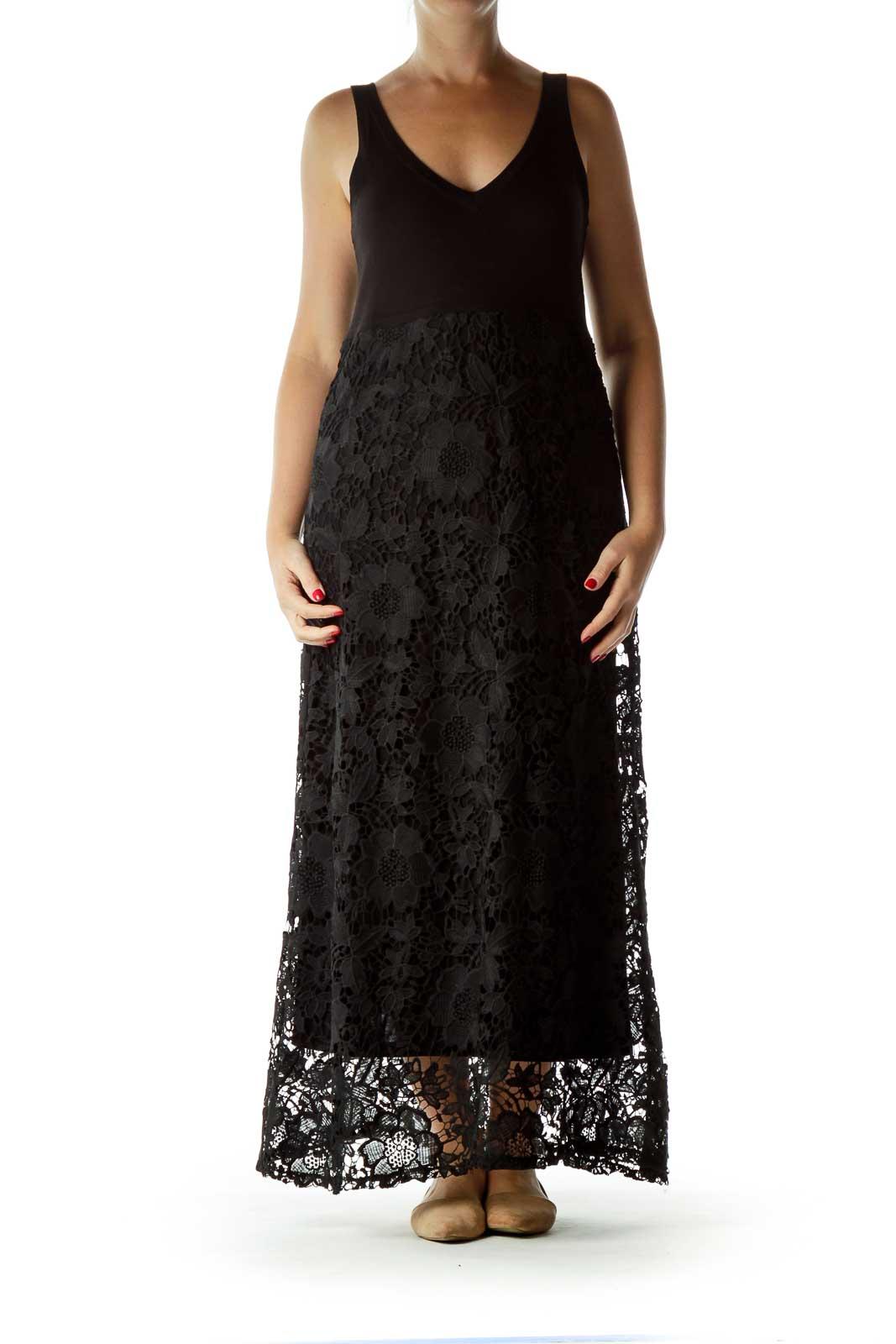 Black Lace Maxi Dress Front