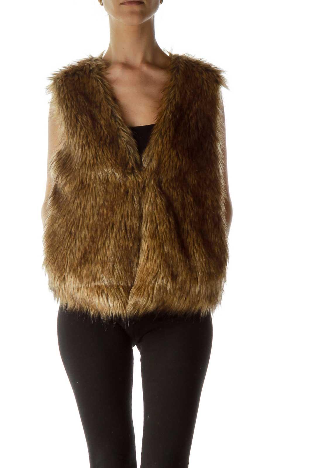 Brown Faux-Fur Vest Front