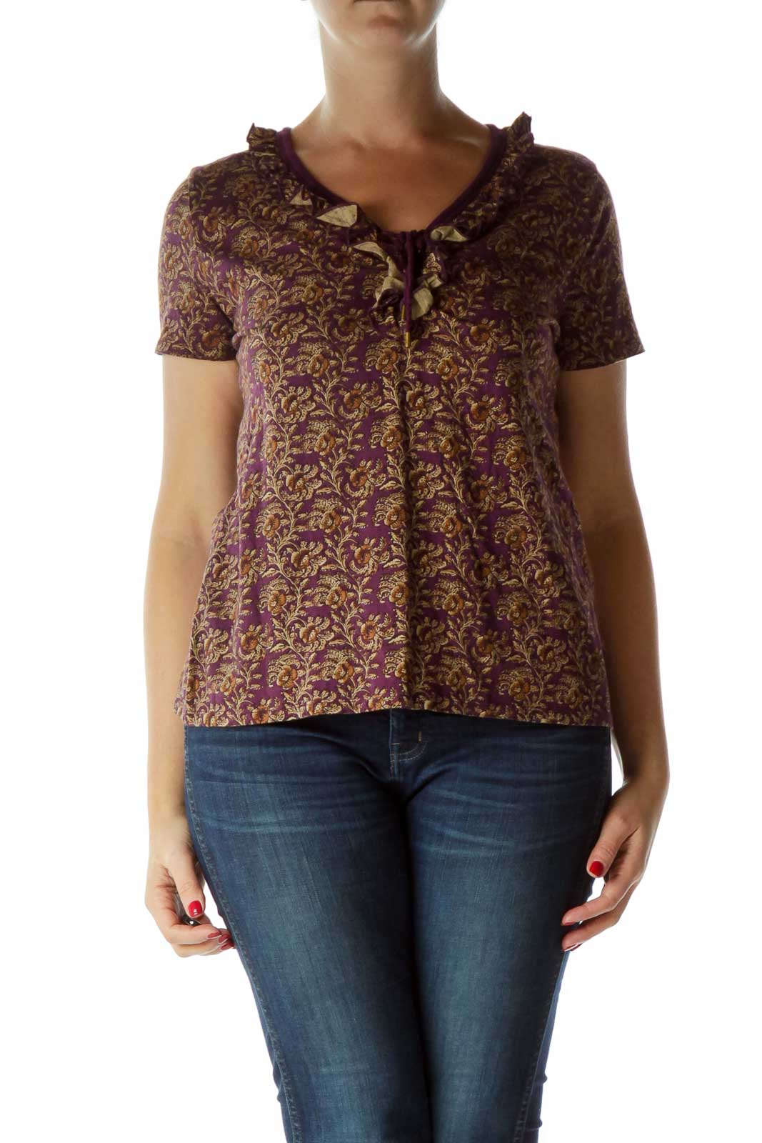 Purple Print Stringed Short Sleeve Blouse Front