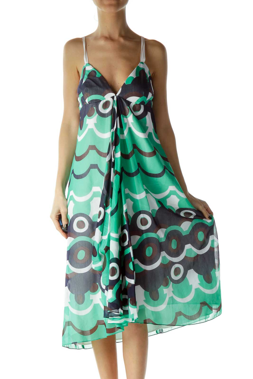 Green Blue Print Silk Day Dress Front