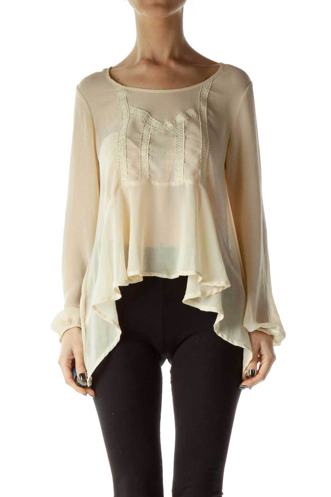 Beige Knit-Detail See-Through Flared Blouse Front