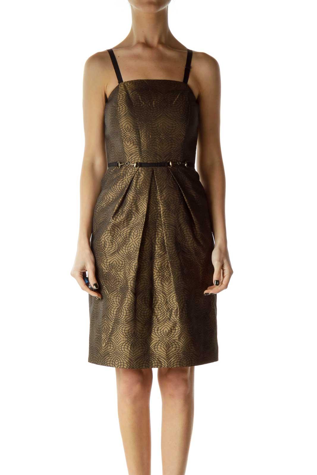 Brown Metallic Printed Cocktail Dress Front