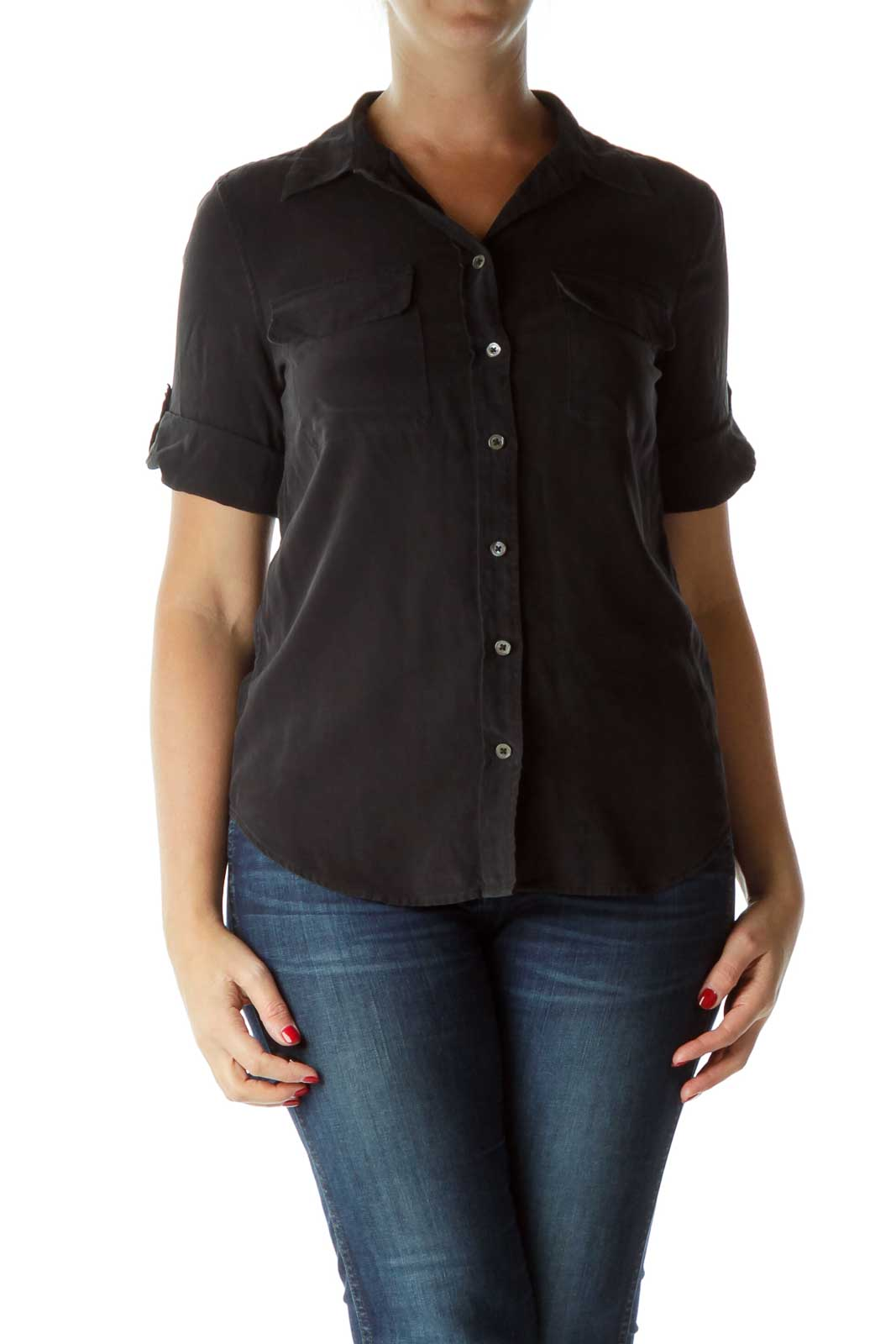 Black 100% Silk Buttoned Pocketed Shirt Front