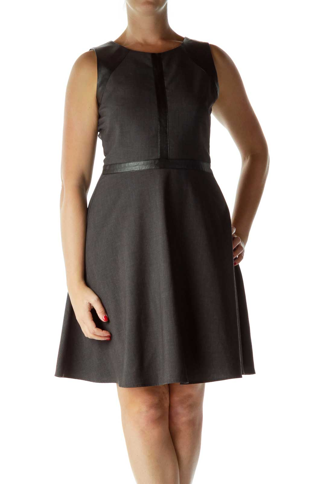 Gray Black Faux Leather Detail Work Dress Front