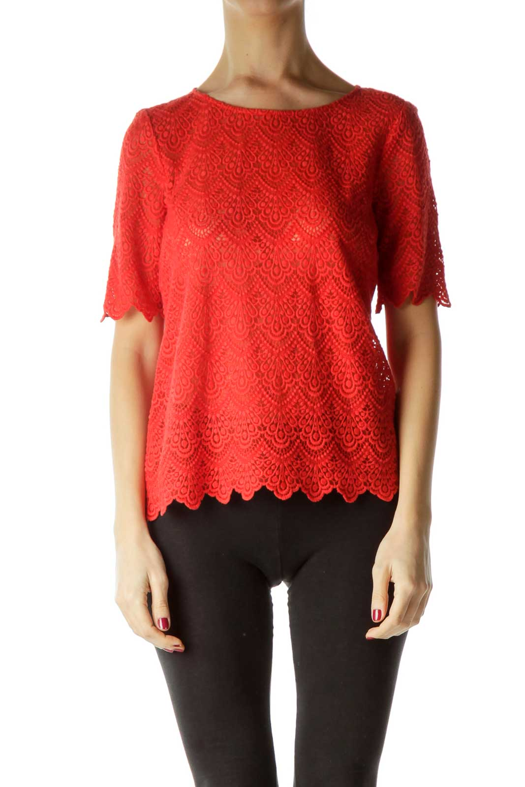 Orange Lace Short Sleeve Top Front