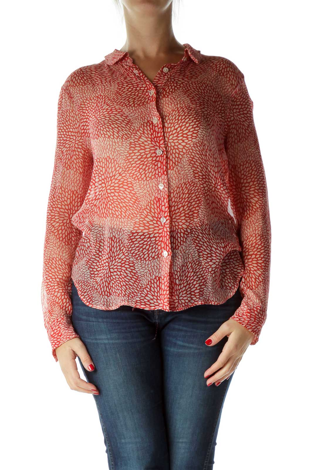 Red Printed 100% Silk See-Through Blouse Front